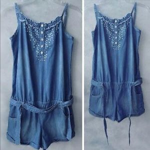 Justice Chambray Romper  10/12M ~FREE 🎁GIFT~
